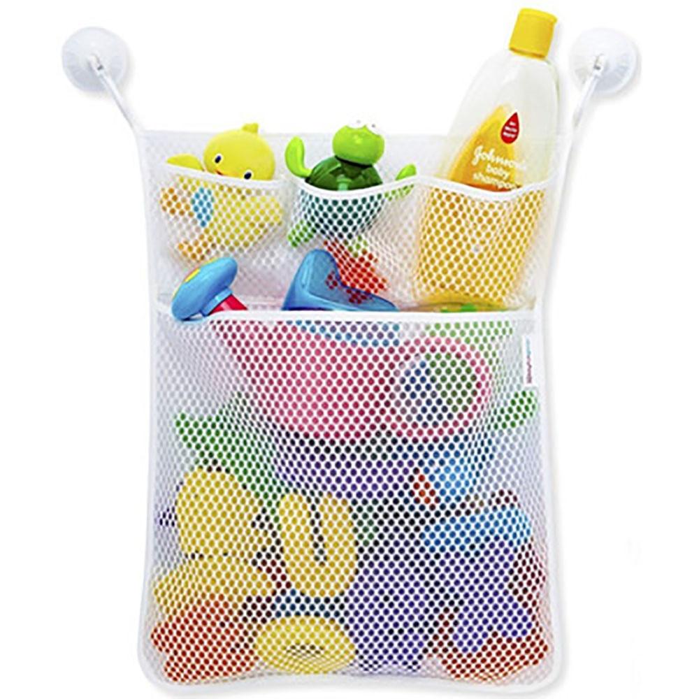 Screen Cloth Mesh Storage Bag Fashion New Baby Toy Organizers Bathroom Bathtub Dolls Hanging Bags White 4 Pockets Wholesale