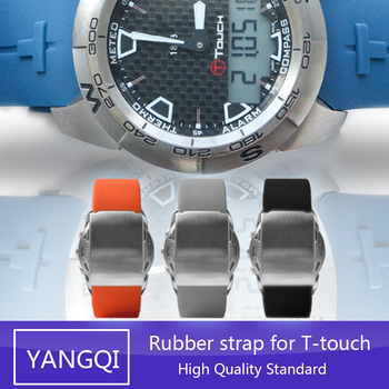 20mm 21mm Silicone Rubber WatchBand Strap Bracelet for Tissot TOUCH T013420 T047420 Sports Watch Waterproof Watchband Z253 Z252