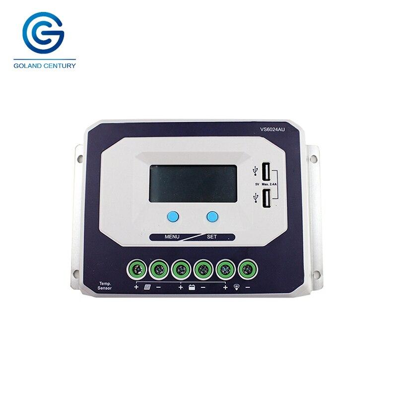 Tout nouveau VS6024AU CE ROHS LCD 60A AMP 12 V 24 V volts PWM contrôleur de Charge de batterie solaire avec affichage LCD 5 V DC sortie Port USB
