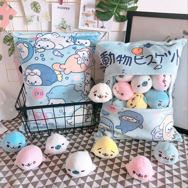 candice guo! super cute plush toy lovely one bag animal sea dog sea lion soft cushion small doll birthday Christmas gift 1pc