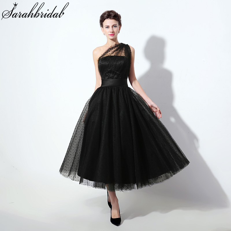Tea-Length Black Homecoming Dresses With One Shoulder Tulle Party Dresses Grade Graduation For Prom Gown SLD337(China)