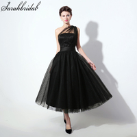 Tea Length Black Homecoming Dresses With One Shoulder Tulle Party Dresses Grade Graduation For Prom Gown SLD337