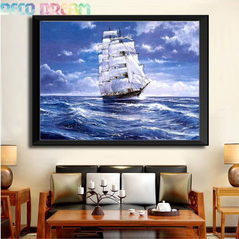 Full Diamond Painting Clipper Ship Diy Diamond Embroidery Classic Decoration For The Living Room A Good Gift Of Craft For Family in Diamond Painting Cross Stitch from Home Garden
