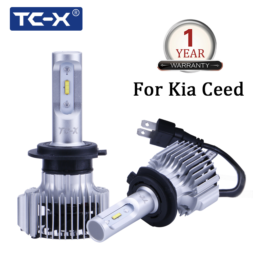 TC-X for Kia Ceed car model H7 LED Compact Car Headlight with led adapter base 60W /Pair 6000LM Lights bulbs 6000k Pure White philips pair of h7 x tremeultinon led car headlight 25w 1760lm each bulbs headlamp with 6000k cool white light car head lights