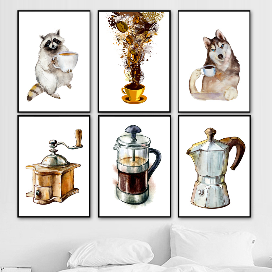 Watercolor Coffee Raccoon Dog Nordic Posters And Prints Wall Art Canvas Painting Wall Picture For Living Room Kitchen Home Decor