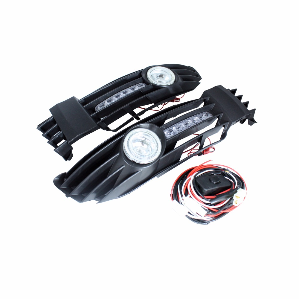 LED Car Bumper Grille Wiring Harness Daytime Running Light Fog Lamp Angel Eyes Bulb For Volkswagen VW Passat 2001-2005 wljh 2x canbus led 20w 1156 ba15s p21w s25 bulb 4014smd car lamp drl daytime running light for volkswagen vw t5 t6 transporter