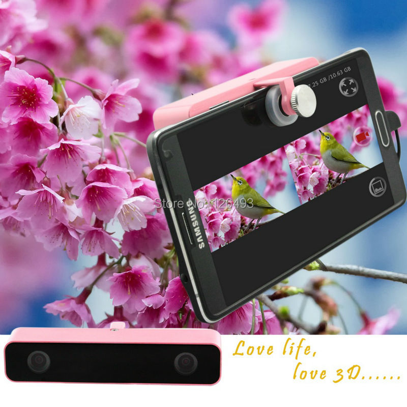 ELP Pink Dual Lens HD 3d virtual reality vr video camera USB external camera for Samsung GALAXY android phone