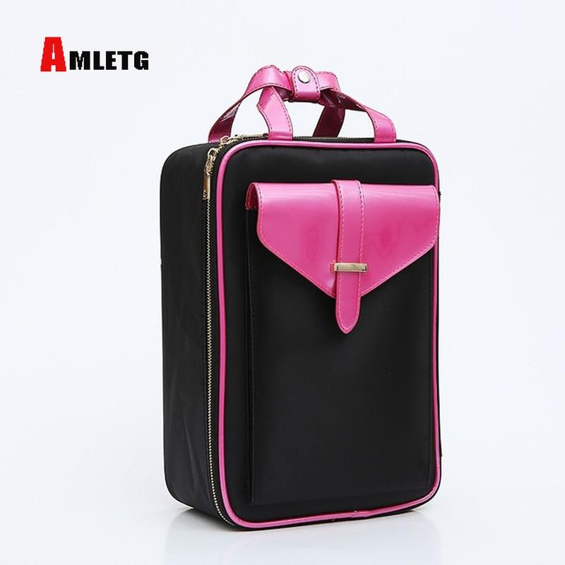 AMLETG Cosmetic Bag Sorting Bag Cosmetic Case Professional Travel Lady Makeup Large Capacity Cosmetic Bag Makeup Artist Neceser цена