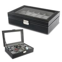 12 Slots Wrist Watch PU Display Box Lockable Showcase Jewelry Storage Case Organizer (Black)