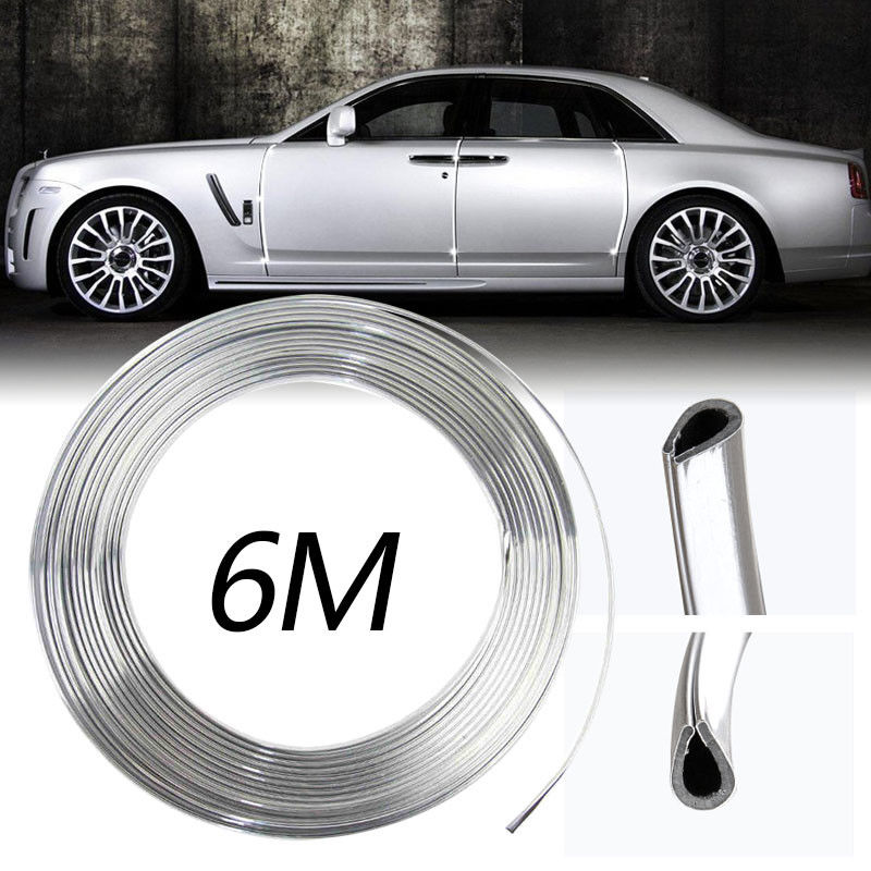 6M Car Chrome Stying Body Door Edge Trim Strip Air Conditioner Outlet Decorative Strips Scratch Guard Protector Car Accessories