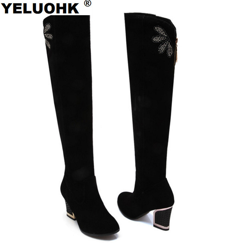 Large Size 43 Over The Knee Boots Women High Heels Butterfly Winter Women High Boots Fashion High Women Boots Winter Shoes Pumps new sexy women boots winter over the knee high boots party dress boots woman high heels snow boots women shoes large size 34 43
