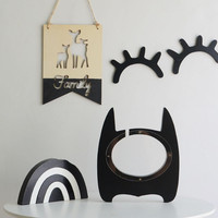 Nordic Wooden Bat Coin Boxes Hero Piggy Bank Kid S Room Decorations Creative Baby Room Photography