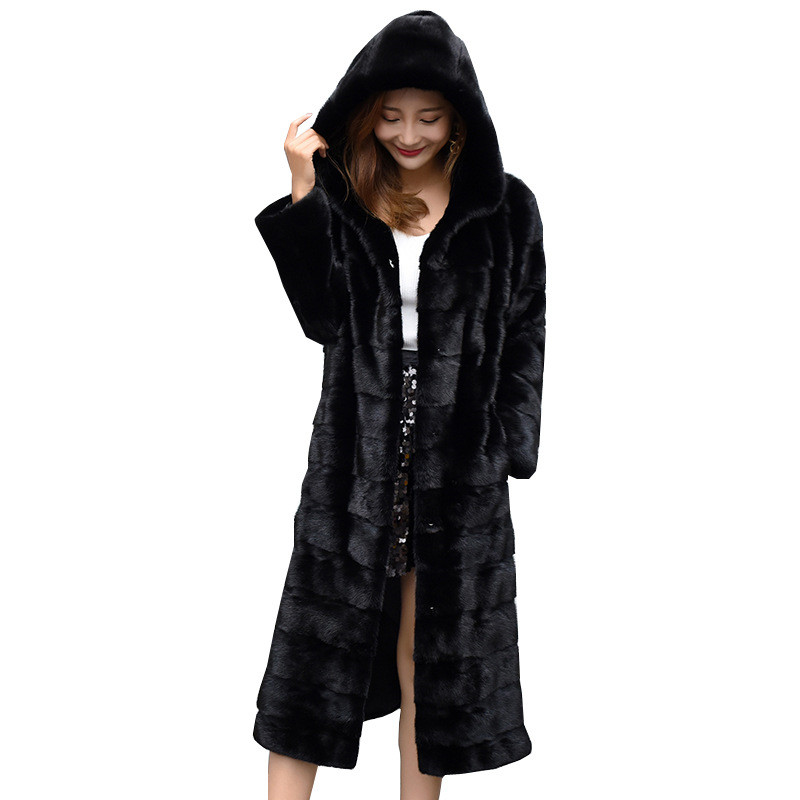 2018 New Imitation Mink Fur coat Slim Slimming Suede Coat Women's Long Hooded Warm jacket More Size S-4XL 5XL 6XL