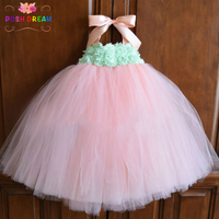 POSH DREAM Mint and Peach Flower Girl Dress Baby Birthday Dress Pastel Toddler Blush Mint Baby Girl Tutu Dress Wedding Party