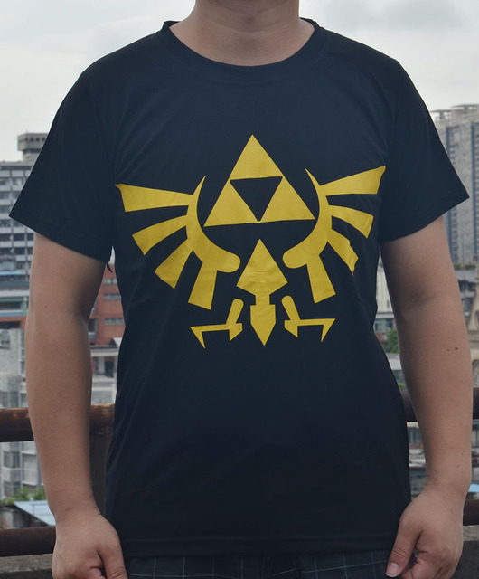 8a1cbf571 Men's Black Nintendo Legend of Zelda Winged Triforce Symbol logo T Shirt  cotton t shirts
