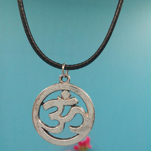 30x25MM 3D Yoga OM Pendant Necklace With 45cm Leather Chain Christmas Gift Choker Collar Vintage Silver Buddhism Jewelry
