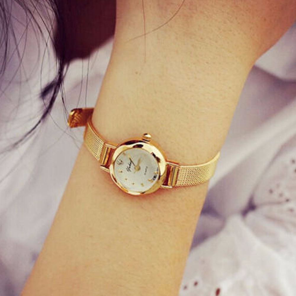 Golden Small Chic Relojes Dial Steel Band Quartz Wrist Watch Gift Girl Women Lady Relogio