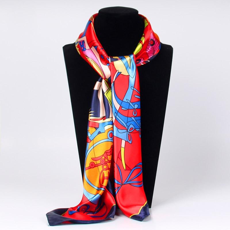 Women Silk   Scarf   2018 New Large Shawls Stoles Graffiti Print Square   Scarves   Echarpes Foulards Femme   Wrap   Bandanas 90*90cm