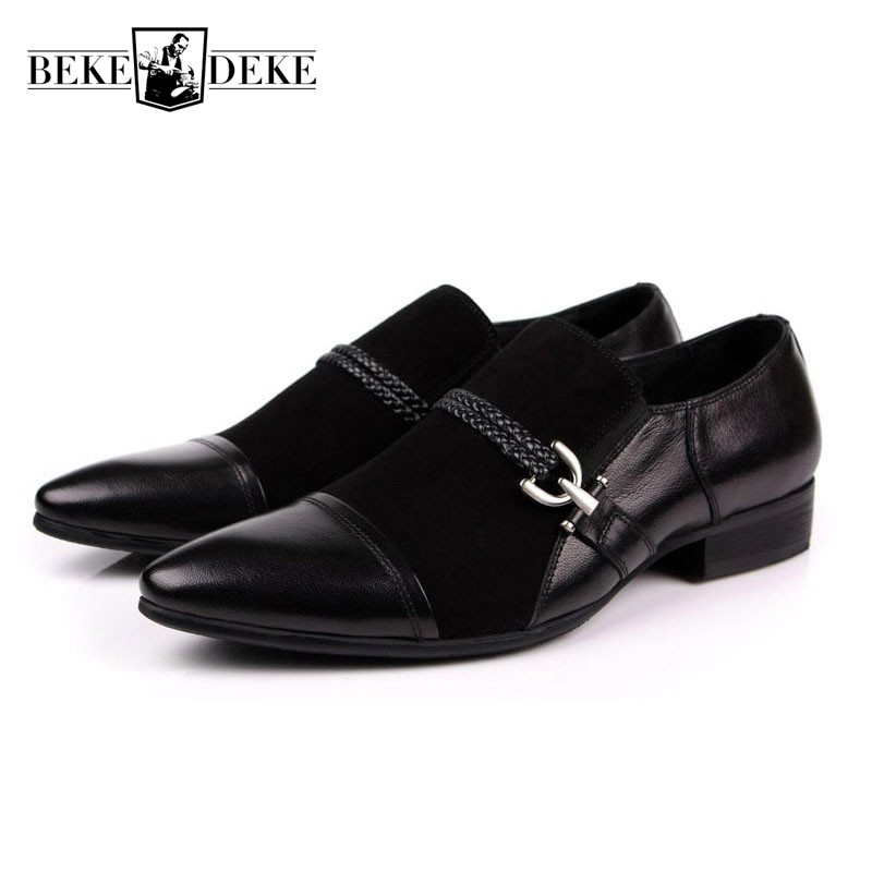 2018 New Mens Shoes Genuine Suede Leather Black Business Work Italian Fashion Male Shoes Slip On Wedding Dress Zapatos Footwear top brand tassel men shoes dress black italian fashion wedding male shoes 2018 new genuine leather business man formal footwear