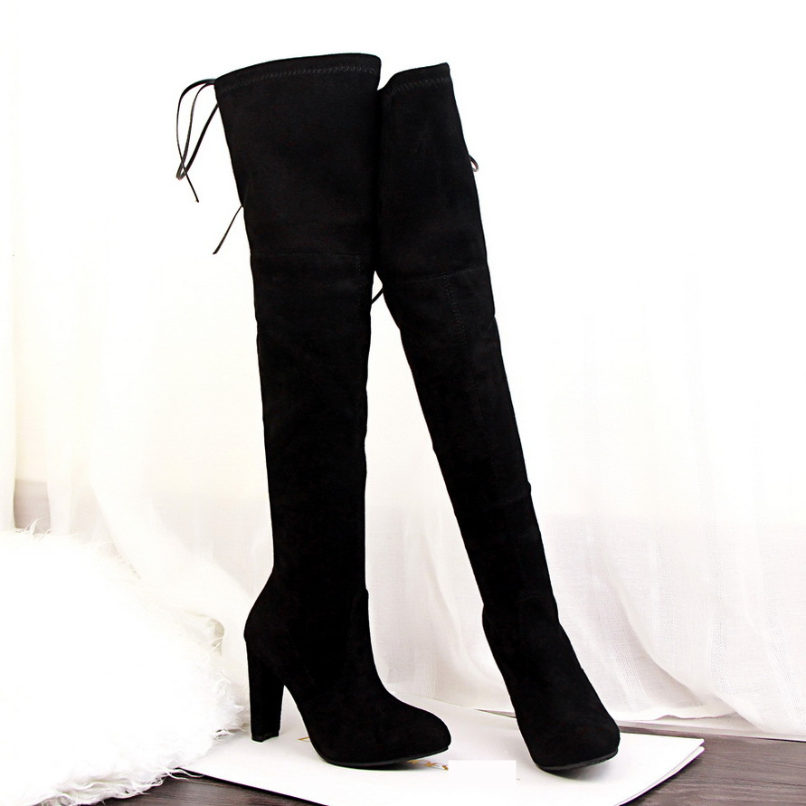 Stretch Faux Suede Thigh High Boots Sexy Fashion Over the Knee Boots High Heels Boots Woman Shoes Black Gray Red Women new fashion over the knee woman shoes sexy open toe stretch fabric thigh high boots 2017 thin heel boots black suede long boots
