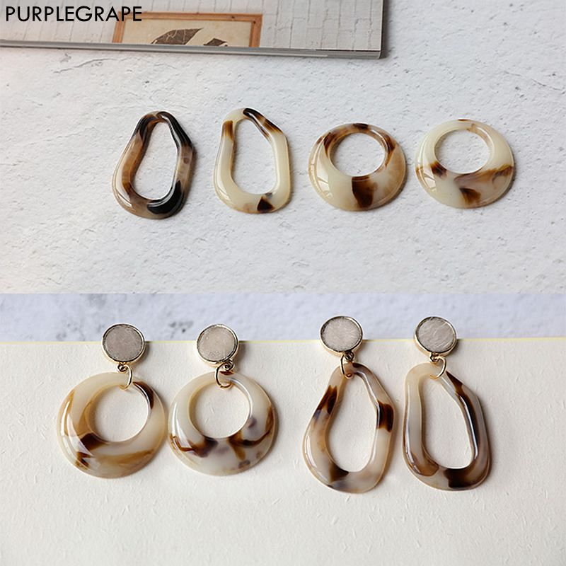 Japanese And Korean Style Resin Irregular Water Droplets Large Ring DIY Hand Made Earrings Jewelry Accessories Material 2 Pieces