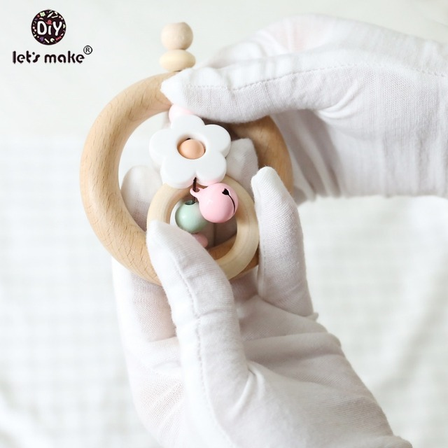 Let's Make Baby Teether Educational Toys 1PC Rattle Panda Rings Food Grade Flower Rough Beads PVC Free Wooden Blanks Bed Bell