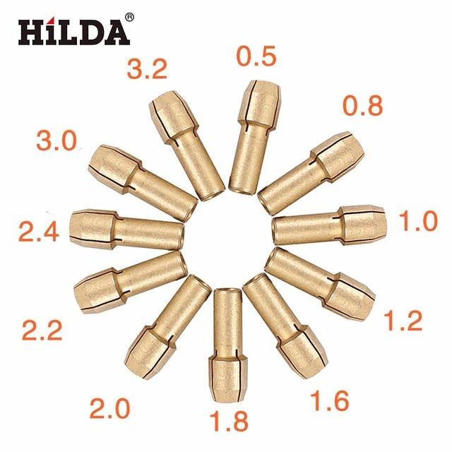 HILDA 11 Шт. Мини Дрель Латуни Цанга для Dremel Роторный Инструмент 0.5/0.8/1.0/1.2/1.6/1.8/2.0/2.2/2.4/3.0/3.2 мм