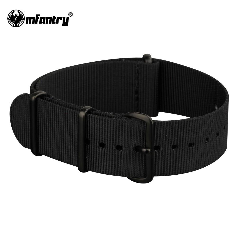 купить INFANTRY 22mm Military NATO Watch Strap Black Nylon G10 Watchband Fabric Watch Belt Band Waterproof Military Replacement по цене 621.65 рублей