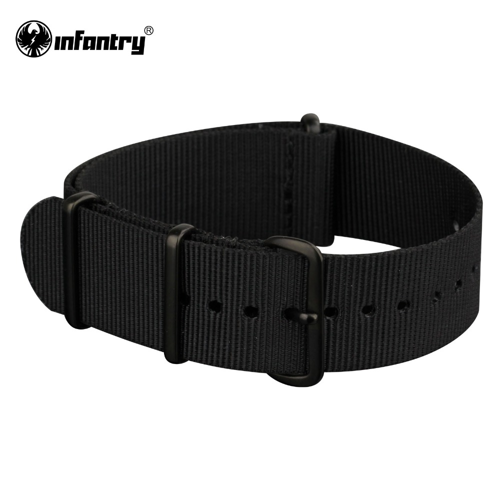 INFANTRY 22mm Military Watch Straps All Black Nylon Fabric Watchbands Stainless Steel Buckles Claps Durable New Watchband survival nylon bracelet with stainless steel buckles green