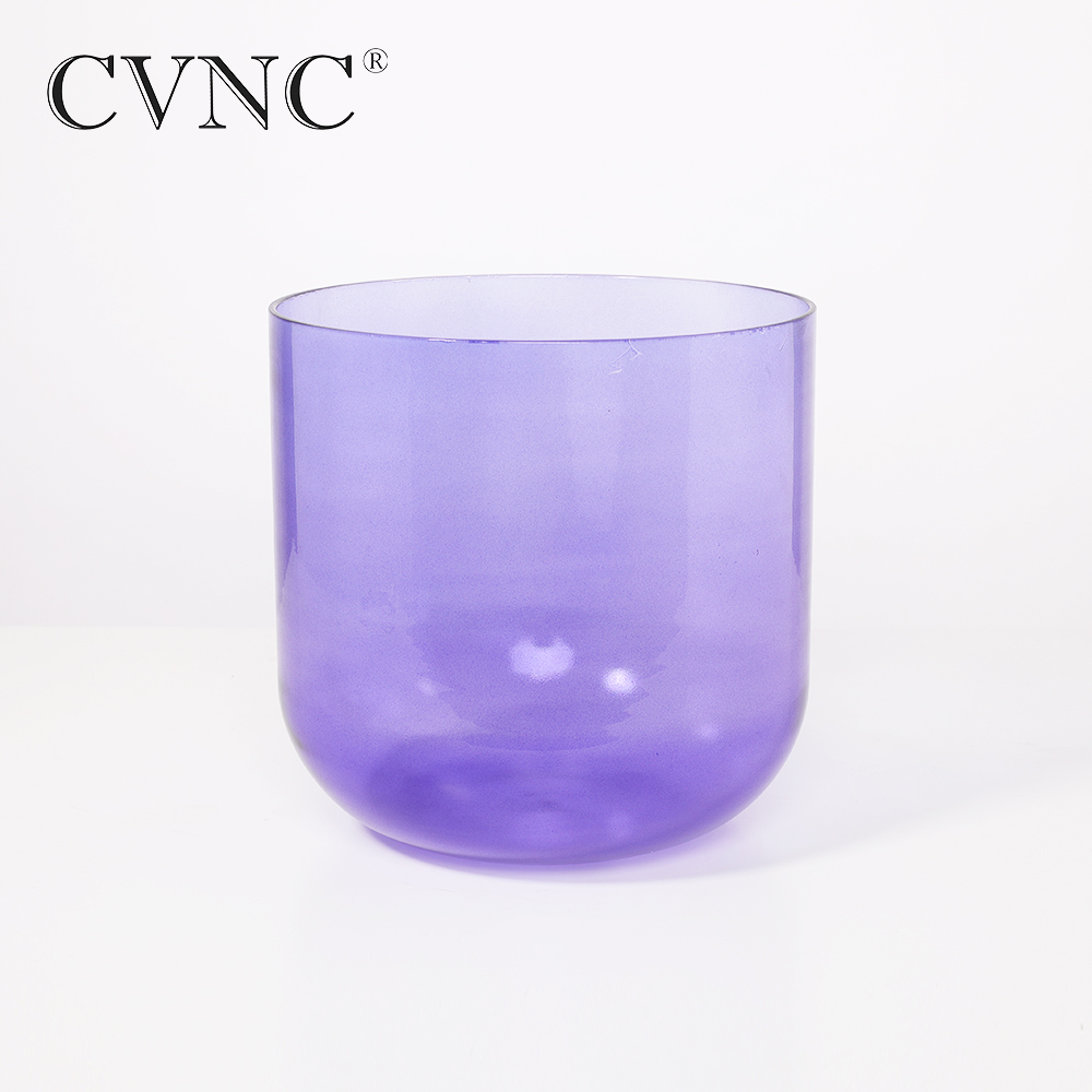 CVNC 6'' Violet Colored Clear Note B Crown Chakra Quartz Crystal Singing Bowl With Free Mallet and O Ring Gift