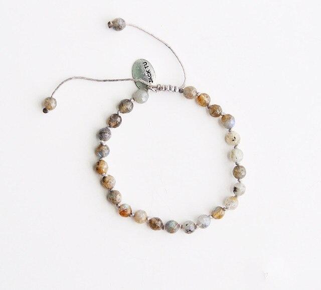 2015 6mm facted labradorite nylon woven bracelet