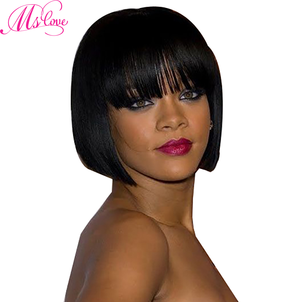 Ms Love Short Bob Human Hair Wigs With Bang For Women Non Remy Brazilian Straight Hair