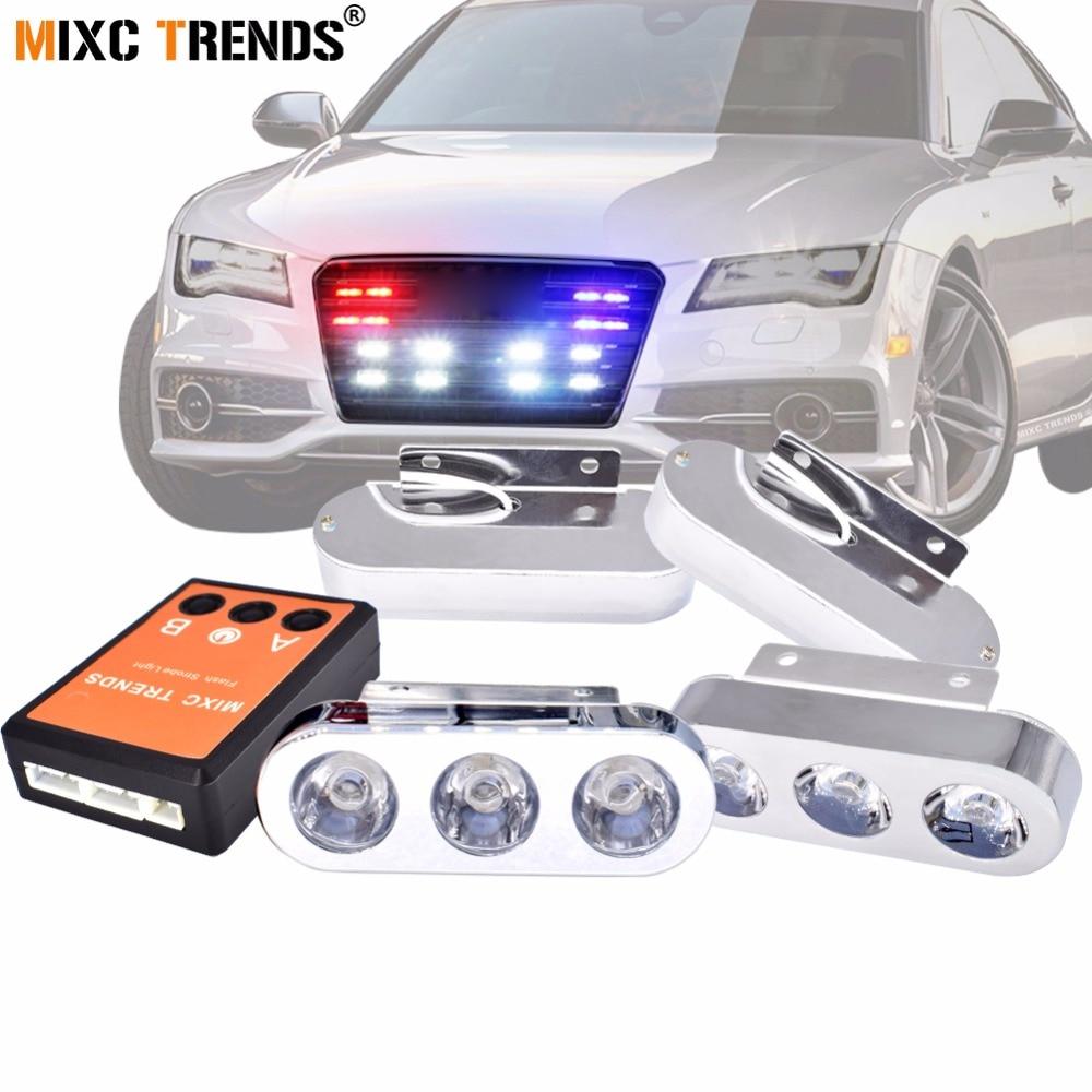 New Car Strobe Police Light 4X3 LEDs Spot DRL Emergency Waring Light 12V Flashing Strobe Light Led Truck Waterproof Flashlight