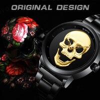 GIMTO Punk 3D Skull Women Watches Gold Luxury Clock Steel Quartz Ladies Watch Waterproof Vintage Skeleton Wristwatch Relogio