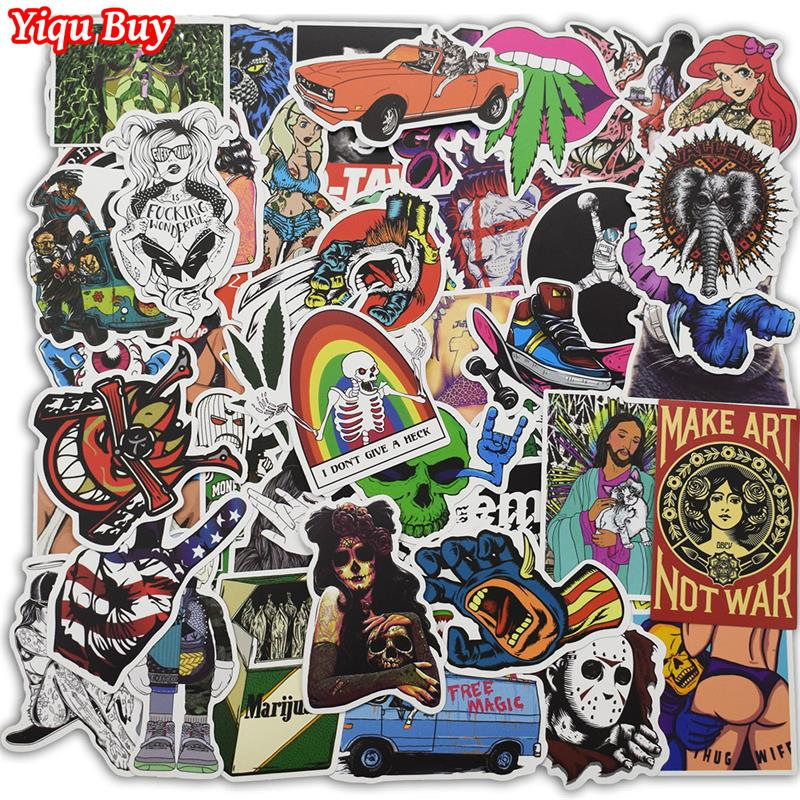 Hot Sell 100 Pcs Mixed Funny Stickers For Car Motorcycle Laptop Luggage Phone Home Decor Fashion Vinyl Decals Cool DIY Sticker