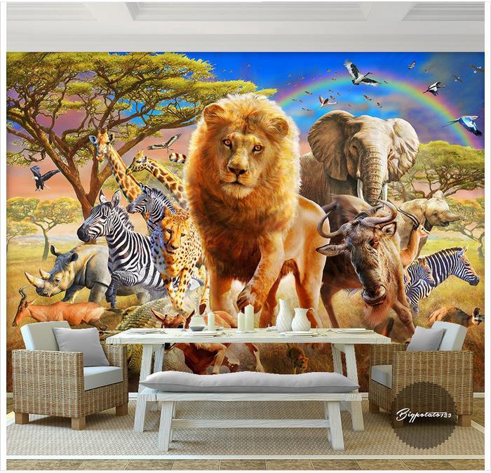 Us 131 50 Offcustom 3d Wallpaper 3d Murals Wallpaper Cartoon Mural Blue Sky Rainbow Wood Elephant Zebra Animal World Children Painting Wall In