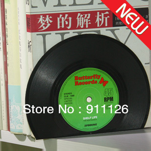 Free Shipping 10sets Lot Cute Tropical Records Bookshelf Unique Retro CD Book Holder Disc Shape