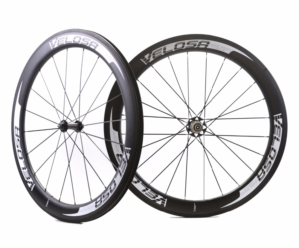 VELOSA! Free shipping 700C 60mm depth road carbon wheels 25mm width Clincher bicycle carbon fiber wheelset with Powerway R51 Hub carbon wheels 700c 25mm width 38mm clincher racing bicycle wheels road bike carbon wheelset clincher with powerway r51 hub