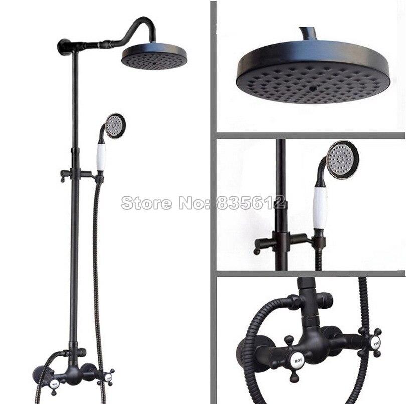 Black Antique Brass Round Shower Head Bathroom Rainfall Shower Faucet Set Wall Mounted Dual Handles Mixer