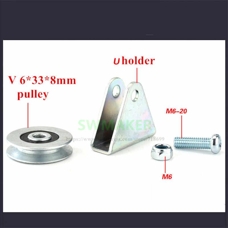 6*33*8mm V trogolo di sollevamento ruota, cuscinetto della puleggia, yuanbao rack/Treppiede filo di corda ruota di guida, di rotolamento puleggia