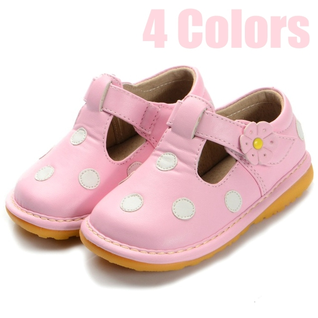 2016 Spring Autumn Baby Shoes 4 Colors Polka Dots Squeaky Soft Sole Baby Girl Shoes First Walkers Size 3 4 5 6 7 8 9