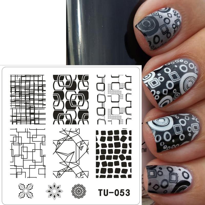 Nieuwe 1 Stks TU Schoonheid Nail Stempelen Platen Onregelmatige Afbeelding Stempelen Nail Art Manicure Template Diy Nail Stempel Gereedschappen