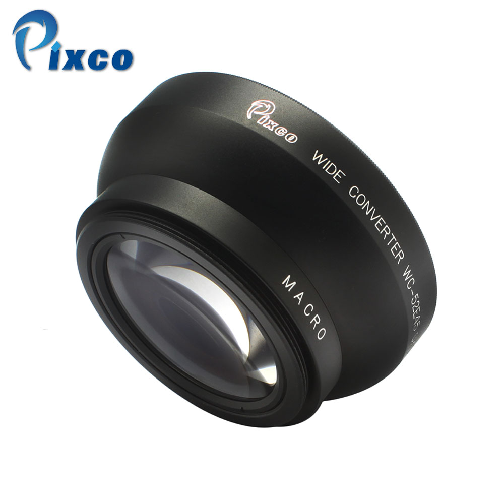 Pixco 52mm 0.45X Wide Angle Lens with Macro For Canon Nikon Pentax For Sony Panasonic (Black) 52mm 0 21x fixed fisheye wide angle lens with removable hood for canon nikon sony dslr camera