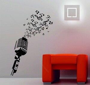 Image 1 - Microfono musica note retro studio DJ di musica decorativa del vinile autoadesivo della parete manifesto casa di arte di disegno della decorazione 2YY5