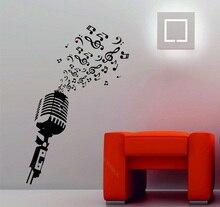 Notas musicales con micrófono Música de Estudio retro DJ vinilo decorativo pared adhesivo póster decoración de diseño de arte del hogar 2YY5