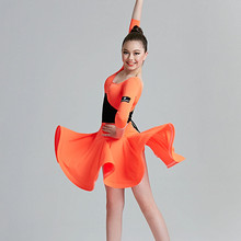 orange kids latin dress girl latin dance dress for kids salsa dress modern dance costumes for kids dance wear samba dress tango