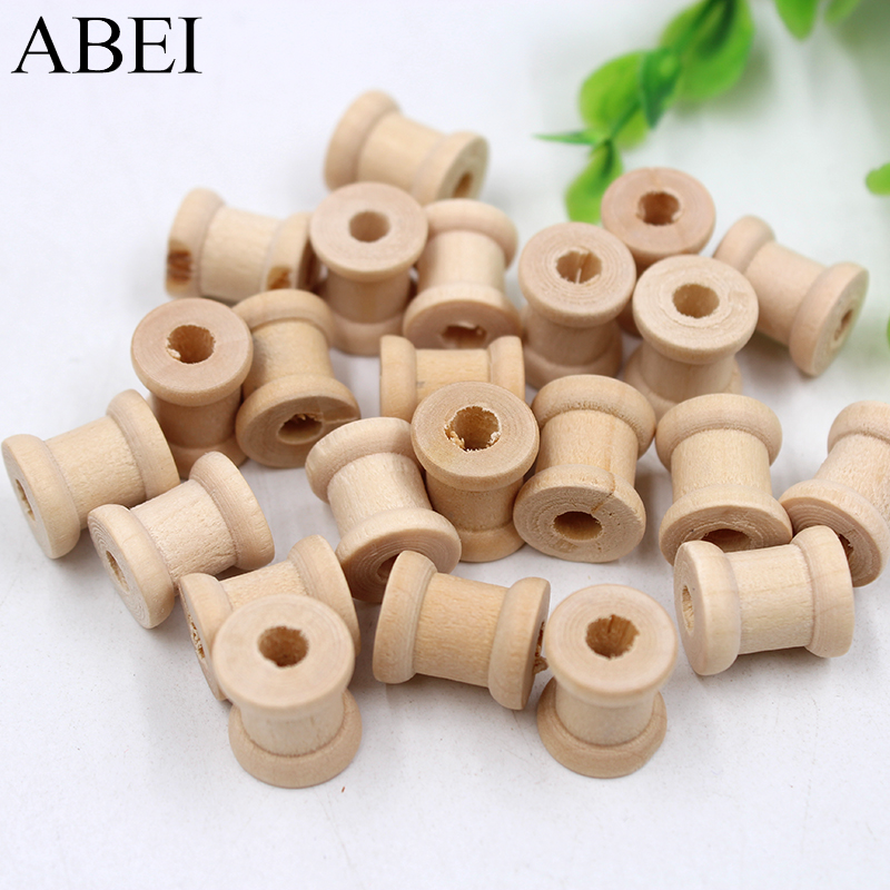 12pcs/lot 14*13MM Mini Small Wooden Spool For Thread String Rolling Wire Bobbin Sewing Tools Supplier DIY Needlework Accessories