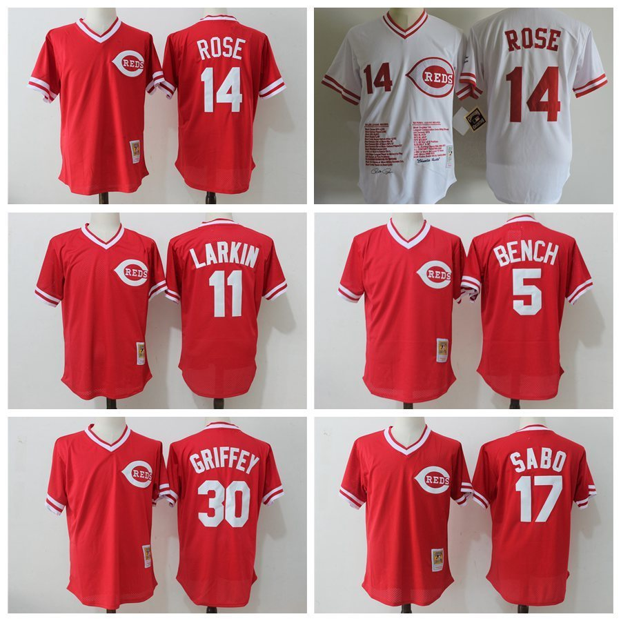 MLB Mens Cincinnati Reds Johnny Bench Pete Rose Ken Griffey Jr throwback jerseys