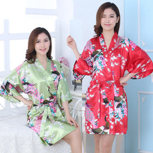 Women Fashion Hot Silk Satin Wedding Bride Bridesmaid Robe Floral Bathrobe Short Kimono Robe Night Robe Bath Robe Fashion Dress(China)