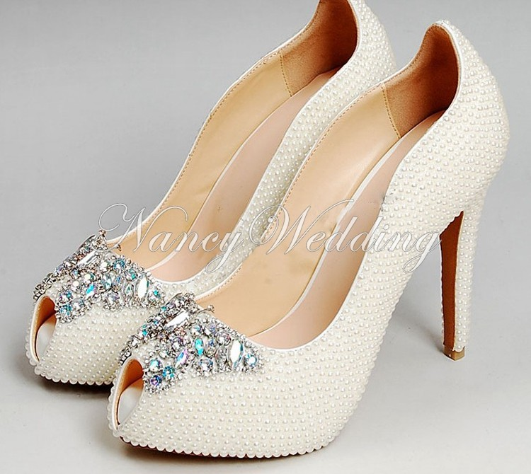 Peep Toe Ivory Shoes 006